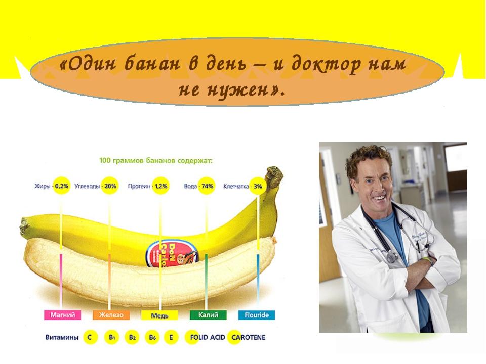 «Один банан в день – и доктор нам не нужен».