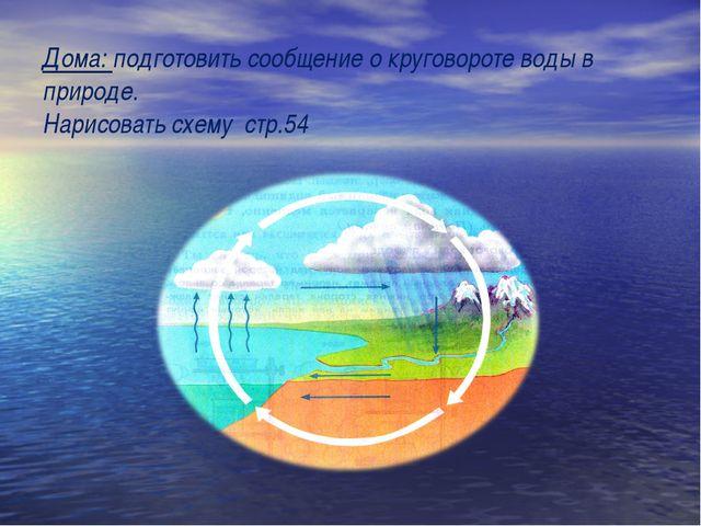 Дома: подготовить сообщение о круговороте воды в природе. Нарисовать схему ст...
