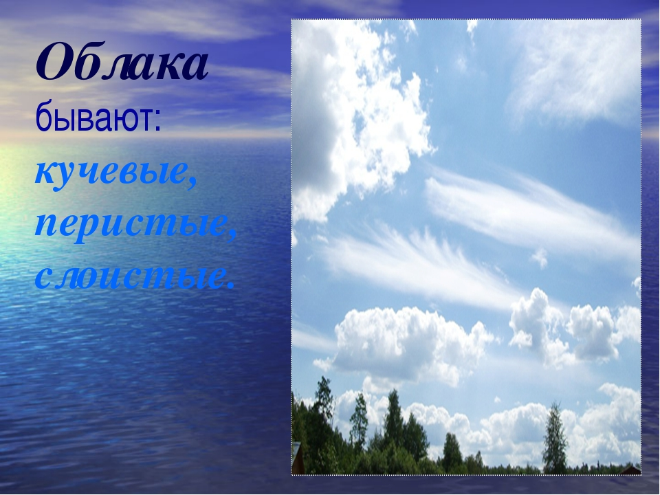 Облака бывают: кучевые, перистые, слоистые.