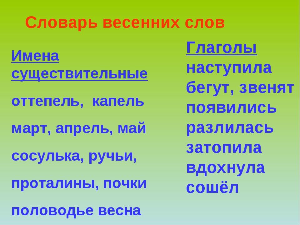 Словарь весенних слов Имена существительные оттепель, капель март, апрель, ма...