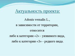 Актуальность проекта: Adonis vernalis L., в зависимости от территории, относи