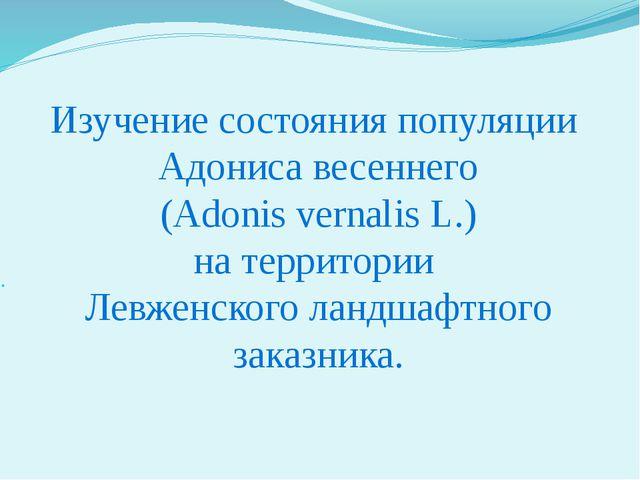 Изучение состояния популяции Адониса весеннего (Adonis vernalis L.) на террит...