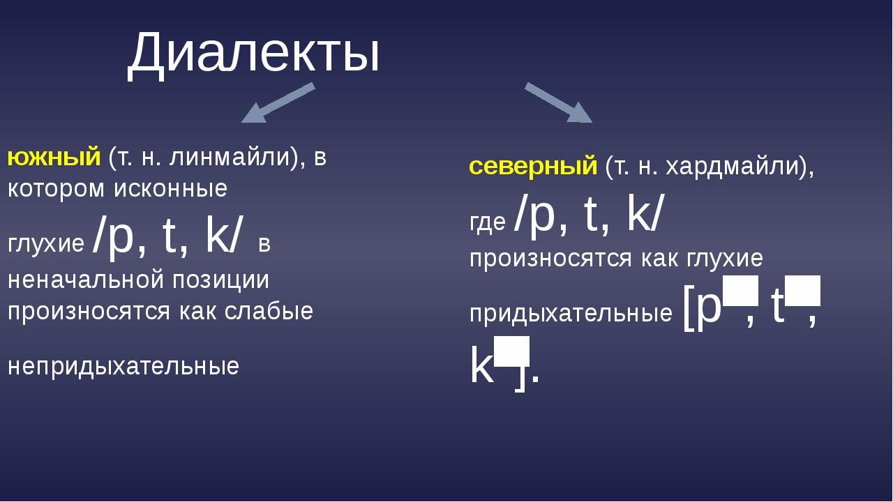 Диалекты южный(т.н. линмайли), в котором исконные глухие /p, t, k/ в ненача...