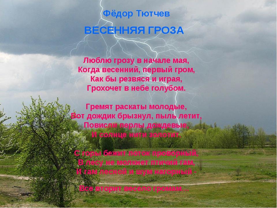 Фёдор Тютчев ВЕСЕННЯЯ ГРОЗА Люблю грозу в начале мая, Когда весенний, первый...