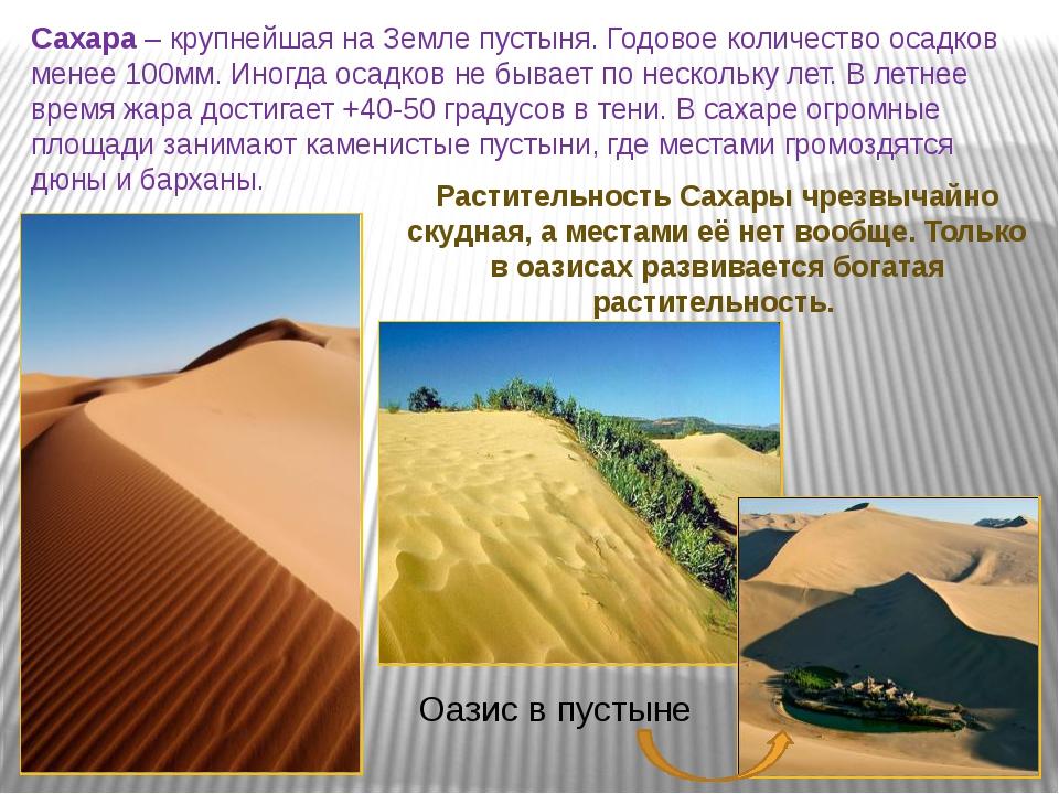 Сахара – крупнейшая на Земле пустыня. Годовое количество осадков менее 100мм....
