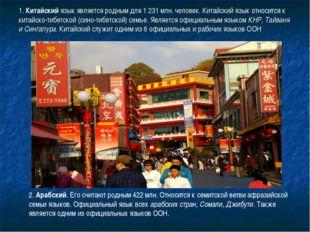 1. Китайский язык является родным для 1 231 млн. человек. Китайский язык отно