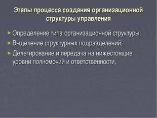 Этапы процесса создания организационной структуры управления Определение типа