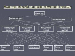 Функциональный тип организационной системы Директор Начальник цеха Начальник