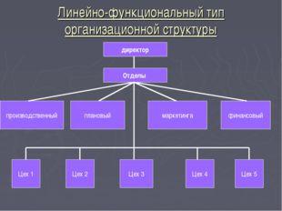 Линейно-функциональный тип организационной структуры директор Отделы производ