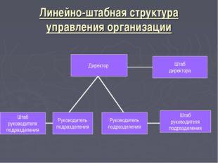 Линейно-штабная структура управления организации Директор Штаб директора Штаб