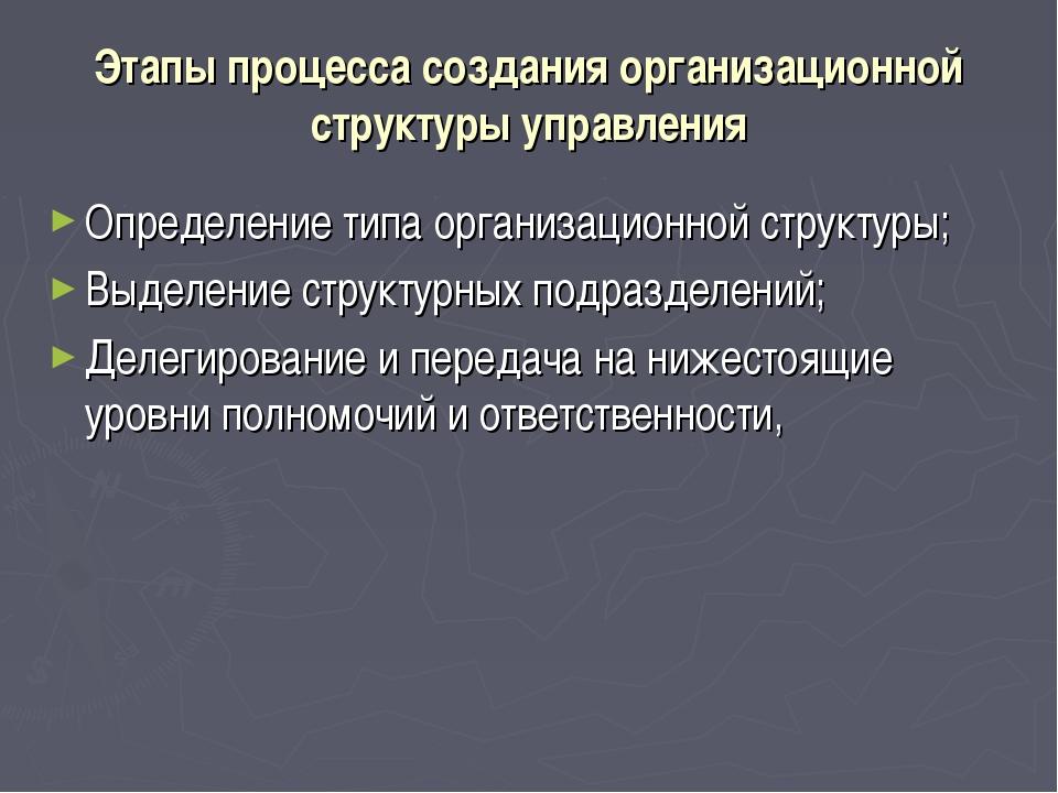 Этапы процесса создания организационной структуры управления Определение типа...