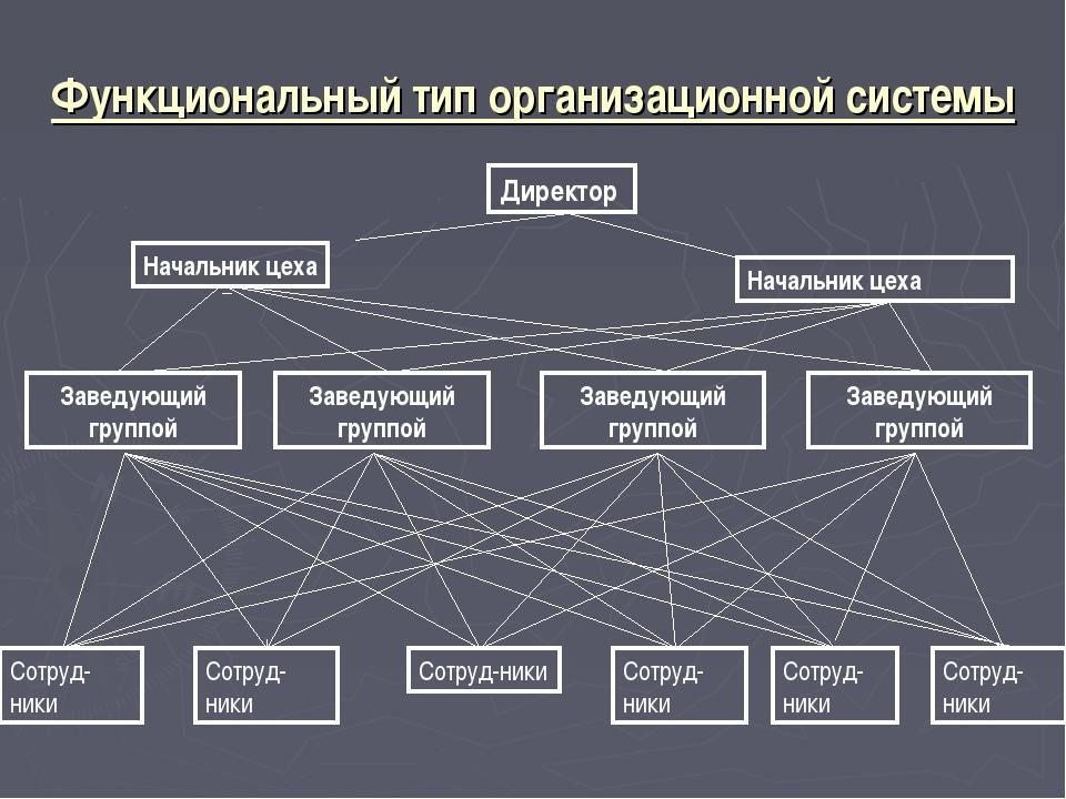 Функциональный тип организационной системы Директор Начальник цеха Начальник...