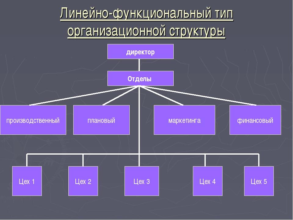 Линейно-функциональный тип организационной структуры директор Отделы производ...