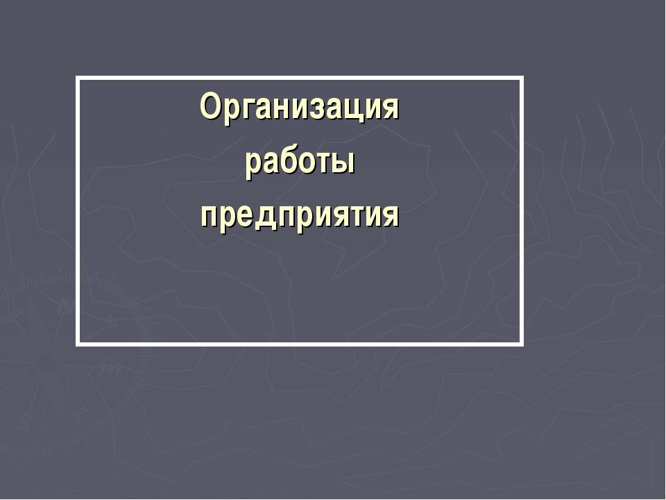 Организация работы предприятия