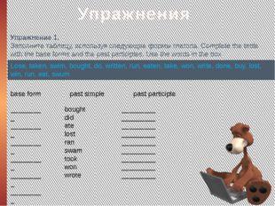 Упражнения Упражнение 1. Заполните таблицу, используя следующие формы глагол