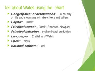 Tell about Wales using the chart Geographical characteristics: ... a country