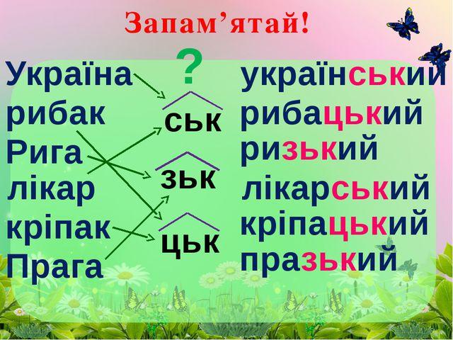 Запам'ятай! Україна рибак Рига лікар кріпак Прага ськ зьк цьк український риб...