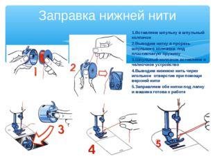 Заправка нижней нити 1.Вставляем шпульку в шпульный колпачок 2.Выводим нитку