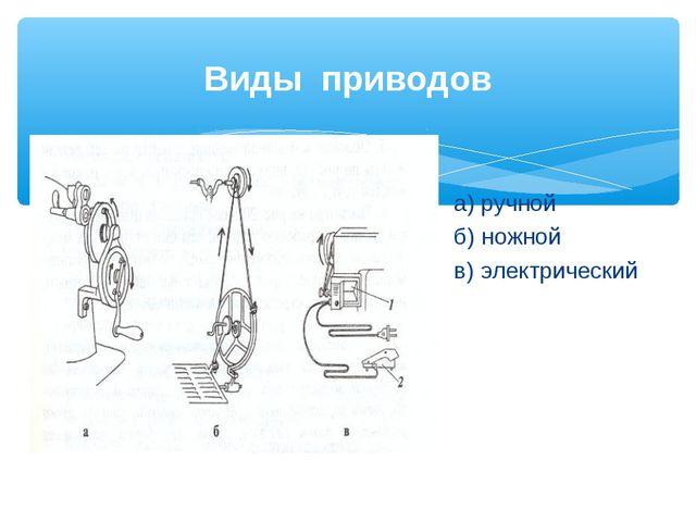 Виды приводов а) ручной б) ножной в) электрический