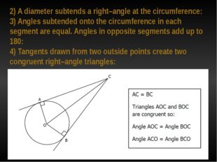 2) A diameter subtends a right–angle at the circumference: 3) Angles subtende