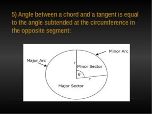5) Angle between a chord and a tangent is equal to the angle subtended at the