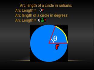 Arc length of a circle in radians: Arc Length = Arc length of a circle in de
