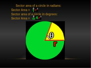 Sector area of a circle in radians: Sector Area = Sector area of a circle in