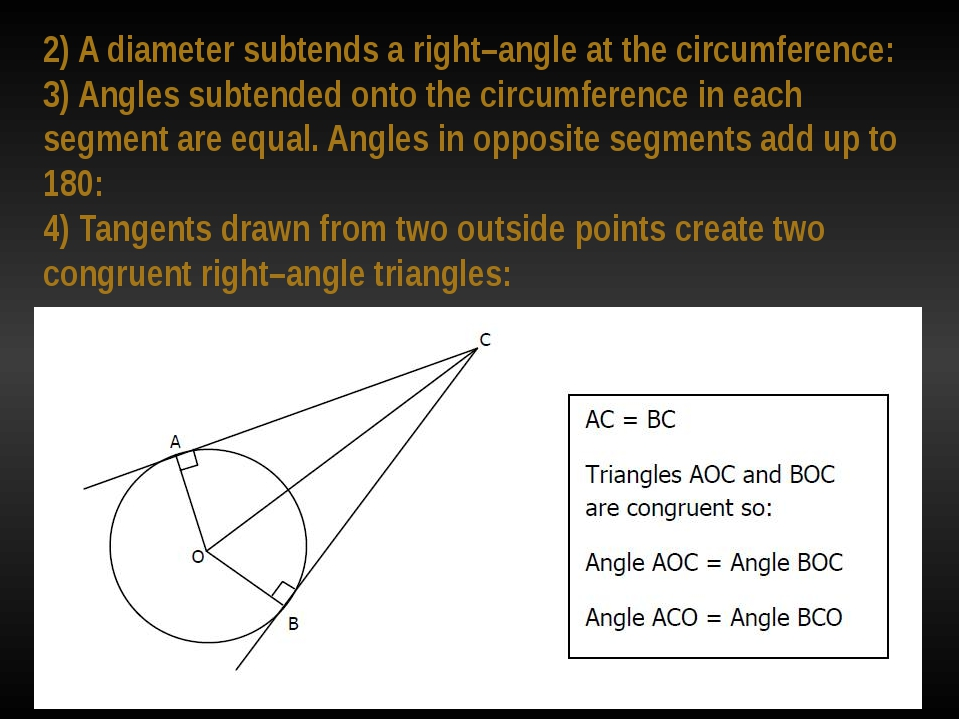 2) A diameter subtends a right–angle at the circumference: 3) Angles subtende...
