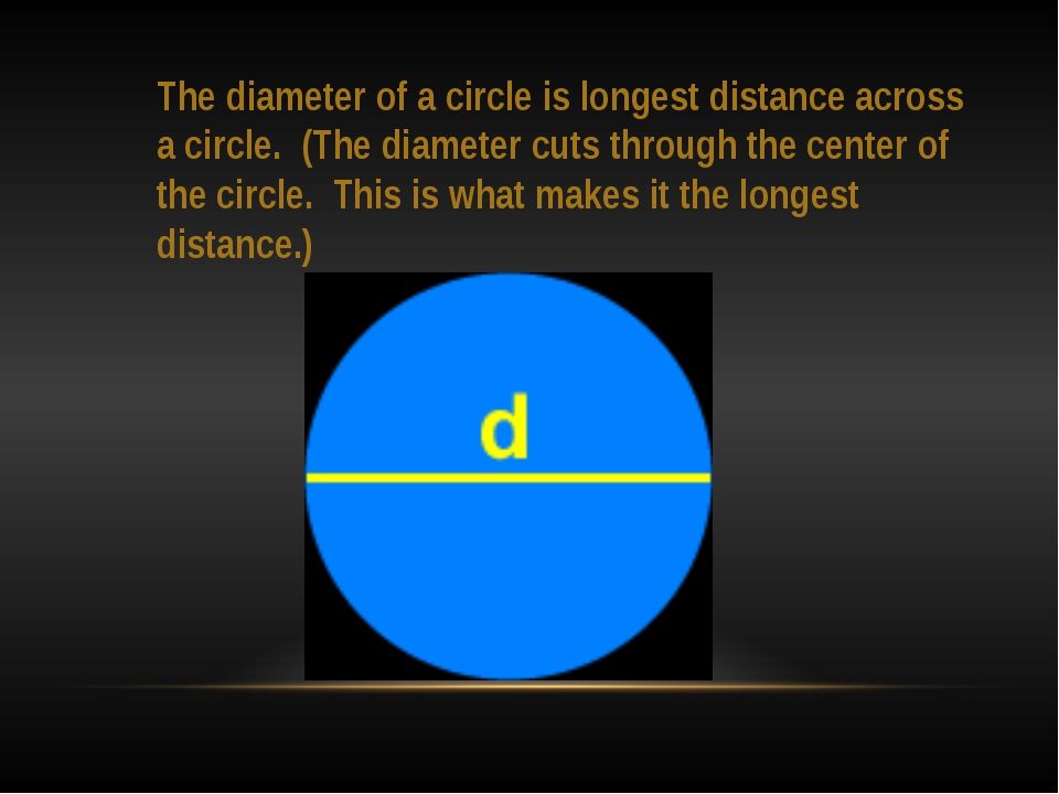 The diameter of a circle is longest distance across a circle. (The diameter c...