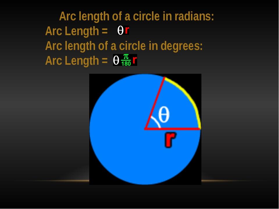Arc length of a circle in radians: Arc Length = Arc length of a circle in de...