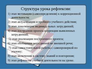 Структура урока рефлексии: 1) этап мотивации (самоопределения) к коррекционно