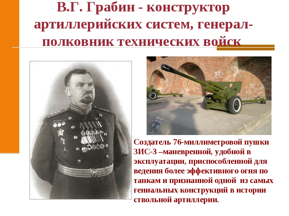 В.Г. Грабин - конструктор артиллерийских систем, генерал-полковник технически...