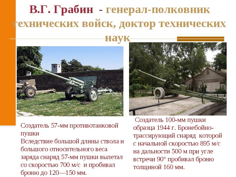 В.Г. Грабин - генерал-полковник технических войск, доктор технических наук С...