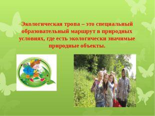 Экологическая тропа – это специальный образовательный маршрут в природных усл