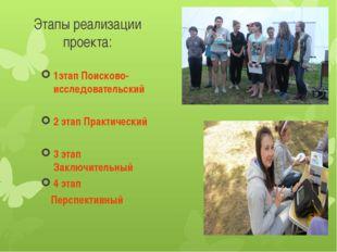 Этапы реализации проекта: 1этап Поисково-исследовательский 2 этап Практически