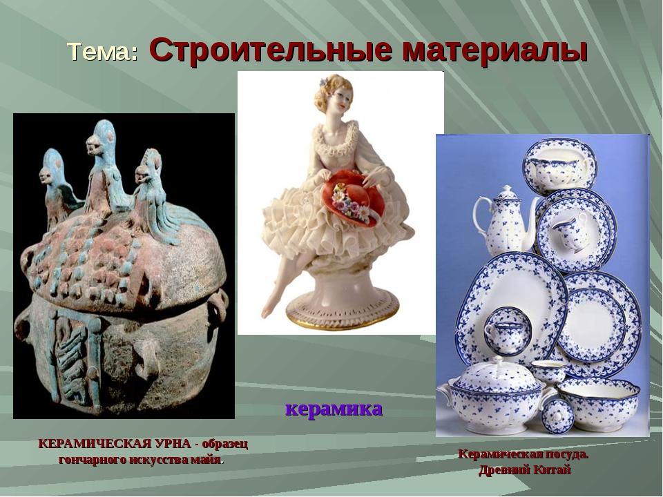 Тема: Строительные материалы КЕРАМИЧЕСКАЯ УРНА - образец гончарного искусства...