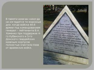 В памяти азовчан никогда не изгладятся те морозные дни, когда войска 44-й ар