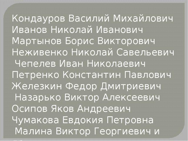Кондауров Василий Михайлович Иванов Николай Иванович Мартынов Борис Викторови...