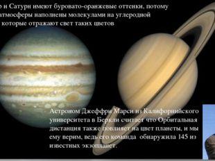 Юпитер и Сатурн имеют буровато-оранжевые оттенки, потому что их атмосферы нап