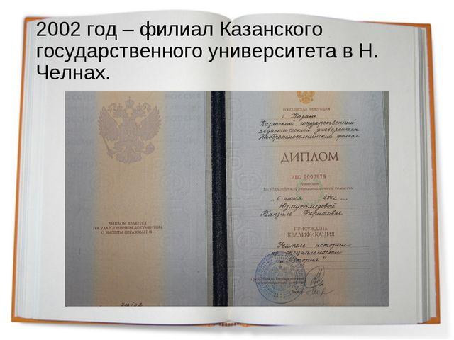 2002 год – филиал Казанского государственного университета в Н. Челнах.