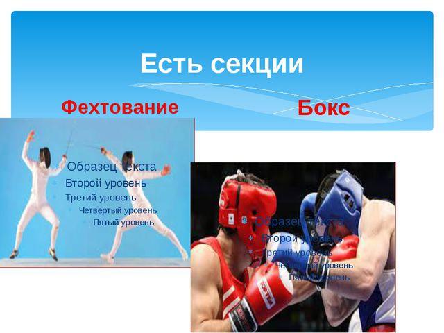 Есть секции Фехтование Бокс