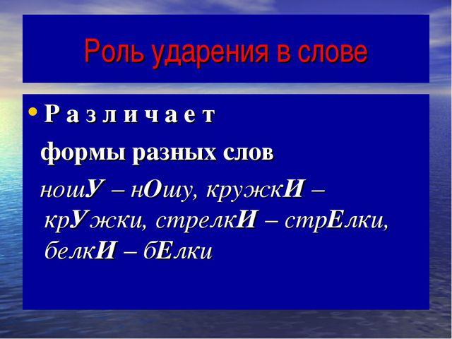 Роль ударения в слове Р а з л и ч а е т формы разных слов ношУ – нОшу, кружкИ...