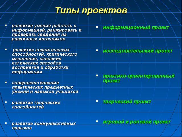 Типы проектов информационный проект исследовательский проект практико-ориенти...