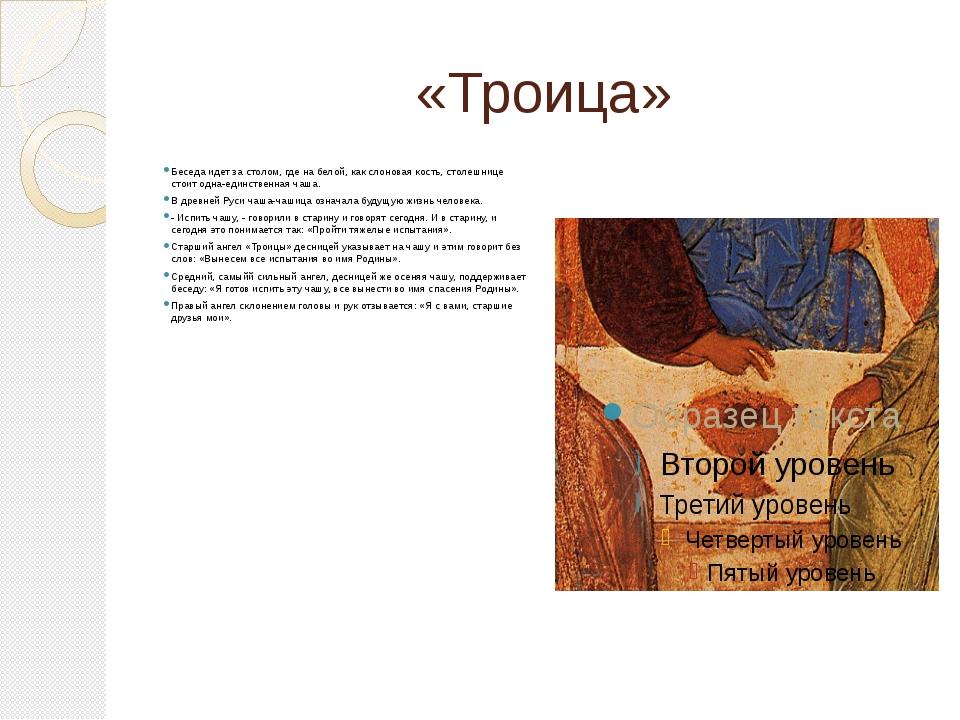 «Троица» Беседа идет за столом, где на белой, как слоновая кость, столешнице...