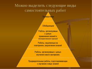Можно выделить следующие виды самостоятельных работ