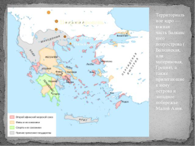 Территориальное ядро— южная частьБалканского полуострова(Балканская, или м...