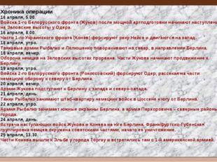 Хроника операции 16 апреля, 5.00. Войска 1-го Белорусского фронта (Жуков) пос