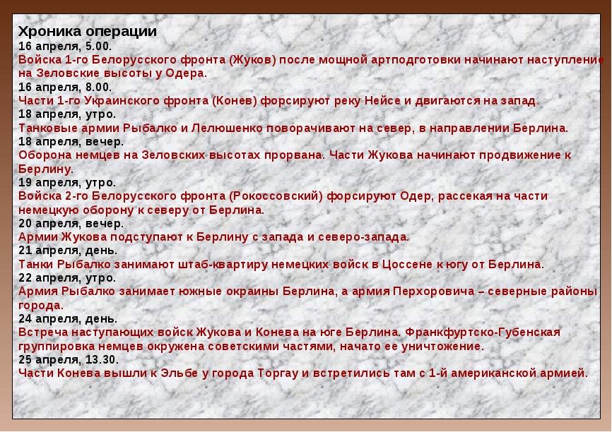 Хроника операции 16 апреля, 5.00. Войска 1-го Белорусского фронта (Жуков) пос...