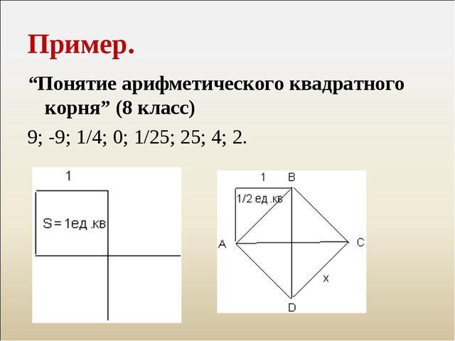 """Пример. """"Понятие арифметического квадратного корня"""" (8 класс) 9; -9; 1/4; 0;..."""