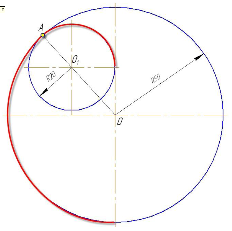 D:\колледж\инжененрная графика, черчение\практич раб граф\Пр 11\сопряжение две окр.bmp